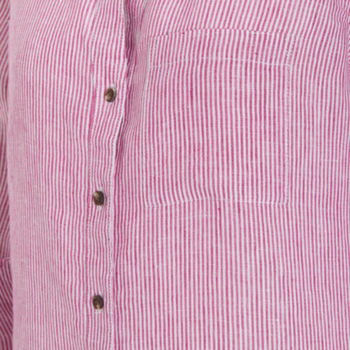 Bild 4 von Adagio Leinenbluse, Langarm, Riegel, Leinenblusenkragen, Knopfleiste, Streifen, für Damen