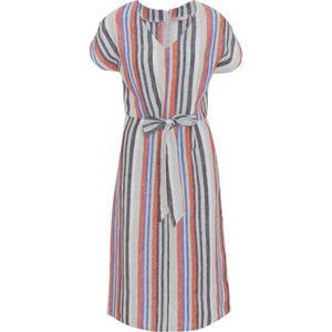 Adagio Leinen-Kleid, gestreift, V-Ausschnitt, für Damen