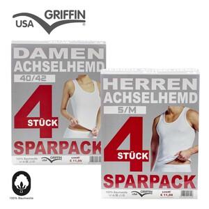Damen- oder Herren-Markenunterwäsche 100% Baumwolle, Feinripp, versch. Modelle, 4er-Pack, je