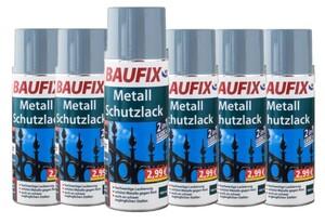 Baufix Metallschutzlack - Silbergrau 6-er Set