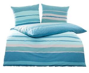 Dreamtex Edle Renforcé-Bettwäsche ca. 135 x 200 cm - Blue Stripes