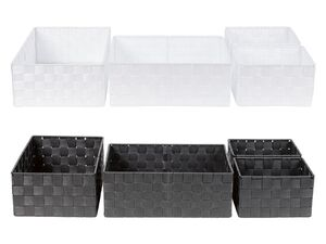 LIVARNO LIVING® Aufbewahrungskörbe, 4 Stück, mit Innenrahmen aus Metall