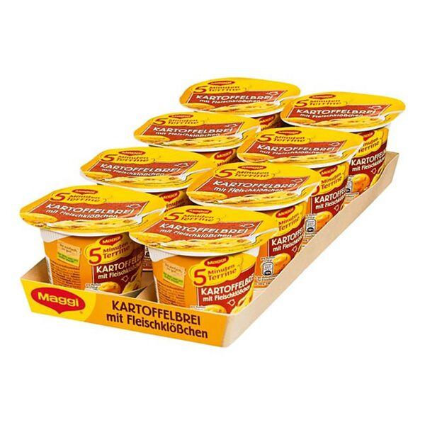 Maggi 5 Minuten Terrine Kartoffelbrei mit Fleischklößchen 46 g, 8er Pack