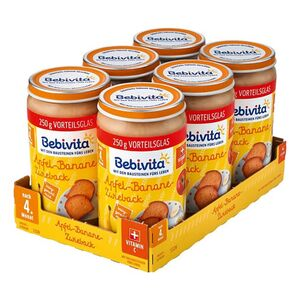Bebivita Apfel-Banane-Zwieback 250 g, 6er Pack