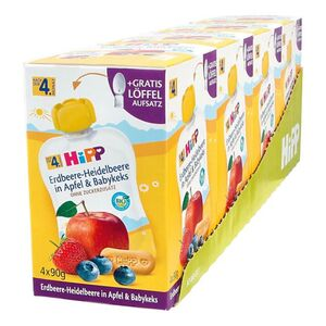HiPP Bio Quetschen Erdbeere-Heidelbeere nach dem 4. Monat, 360 g, 4er Pack