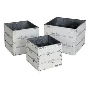 Zink-Übertöpfe Container-Design Weiß 3er-Set