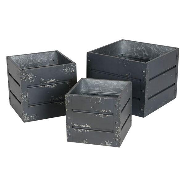 Zink-Übertöpfe Container-Design Anthrazit 3er-Set
