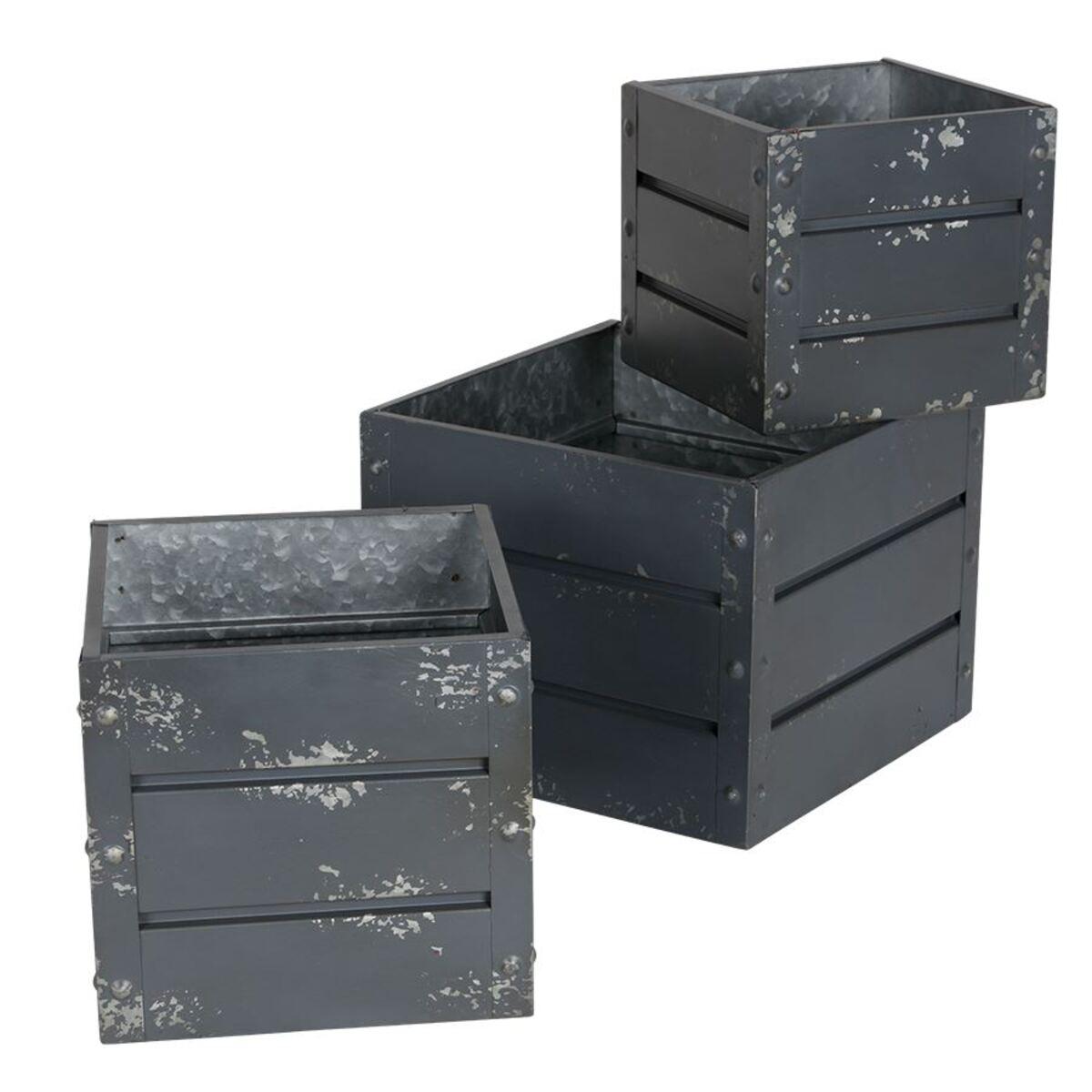 Bild 2 von Zink-Übertöpfe Container-Design Anthrazit 3er-Set