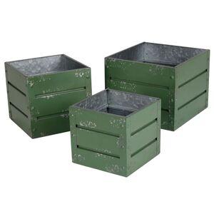 Zink-Übertöpfe Container-Design Dunkelgrün 3er-Set