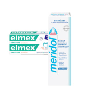 meridol oder elmex Mundspülung, elmex Zahncreme sensitive oder