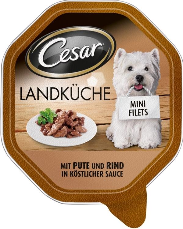Cesar Landküche mit Pute und Rind in Sauce Hundefutter nass 150 g