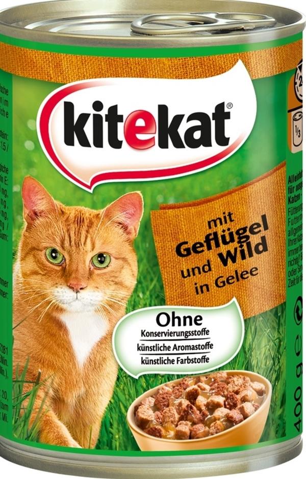 Kitekat Geflügel und Wild in Gelee Katzenfutter nass 0,4 kg