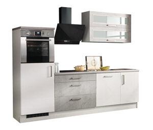 respekta-Premium-Küchenblock in Betonoptik, Hochglanz, weiß, ca. 260 cm