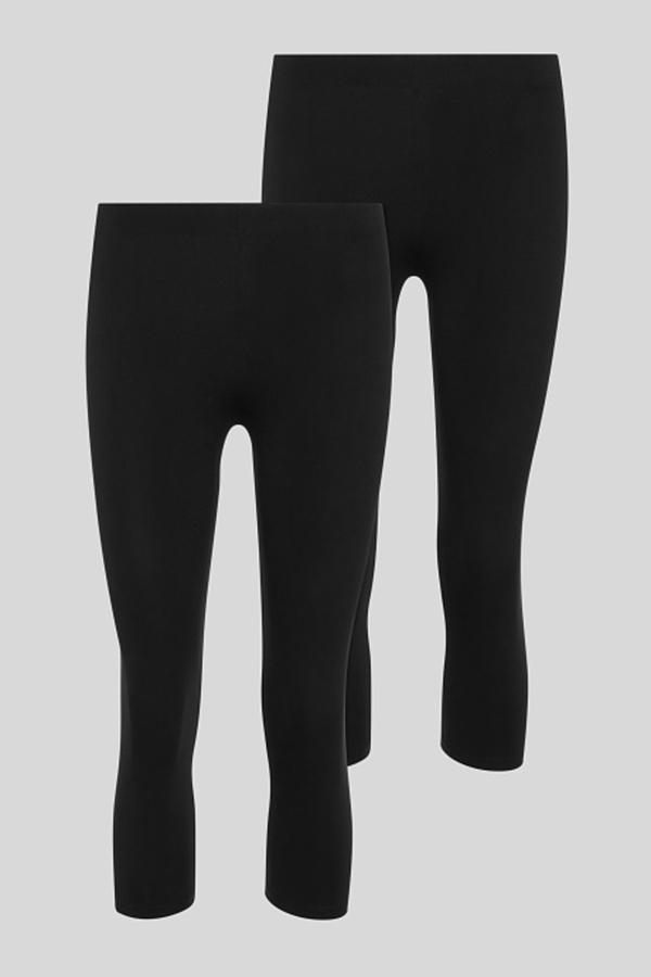 C&A Basic-Capri-Leggings-Bio-Baumwolle-2er Pack, Schwarz, Größe: XL