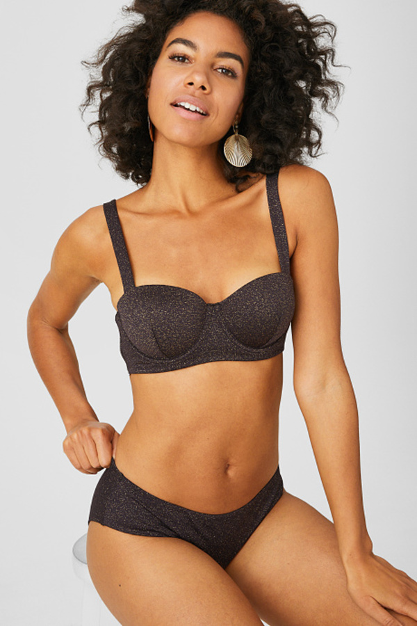 C&A Bikini-Hose-Glanz-Effekt, Schwarz, Größe: 40