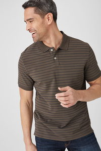 C&A Poloshirt-Bio-Baumwolle-gestreift, Weiß, Größe: XXL