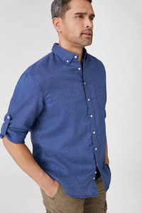 C&A Hemd-Regular Fit-Button-down-Leinen-Mix, Weiß, Größe: 3XL