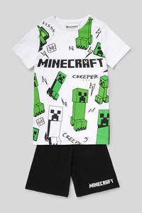 C&A Minecraft-Shorty-Pyjama-Bio-Baumwolle-2 teilig, Weiß, Größe: 170