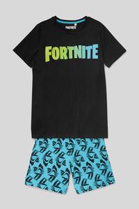 C&A Fortnite-Shorty-Pyjama-Bio-Baumwolle-2 teilig, Schwarz, Größe: 158