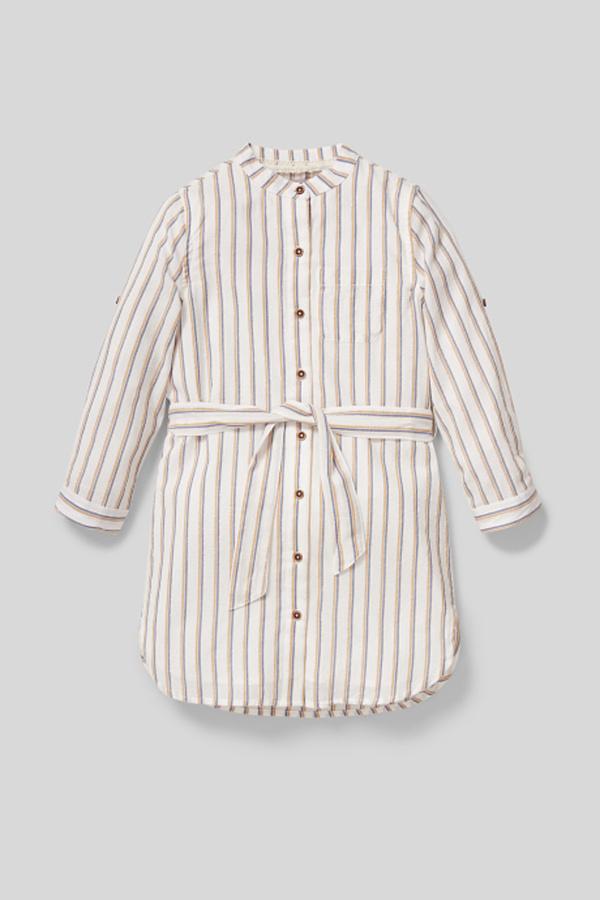 C&A Kleid-gestreift-Glanz-Effekt, Weiß, Größe: 158