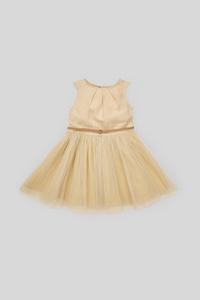 C&A Kleid mit Gürtel-festlich, Beige, Größe: 128