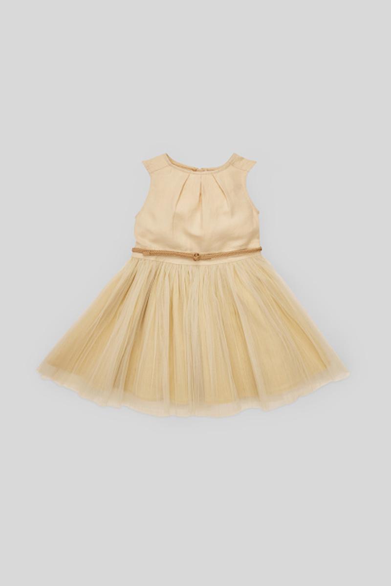 Bild 1 von C&A Kleid mit Gürtel-festlich, Beige, Größe: 128