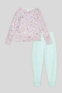 C&A Pyjama-Bio-Baumwolle-2 teilig, Grau, Größe: 176