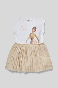 C&A Die Eiskönigin-Kleid-2-in-1-Look-Glanz-Effekt, Metallisch, Größe: 140