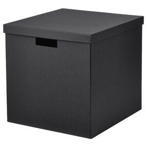 TJENA Kasten mit Deckel, schwarz