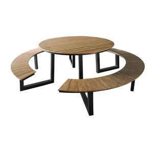 Esstisch rund mit 2 Bänken, natur