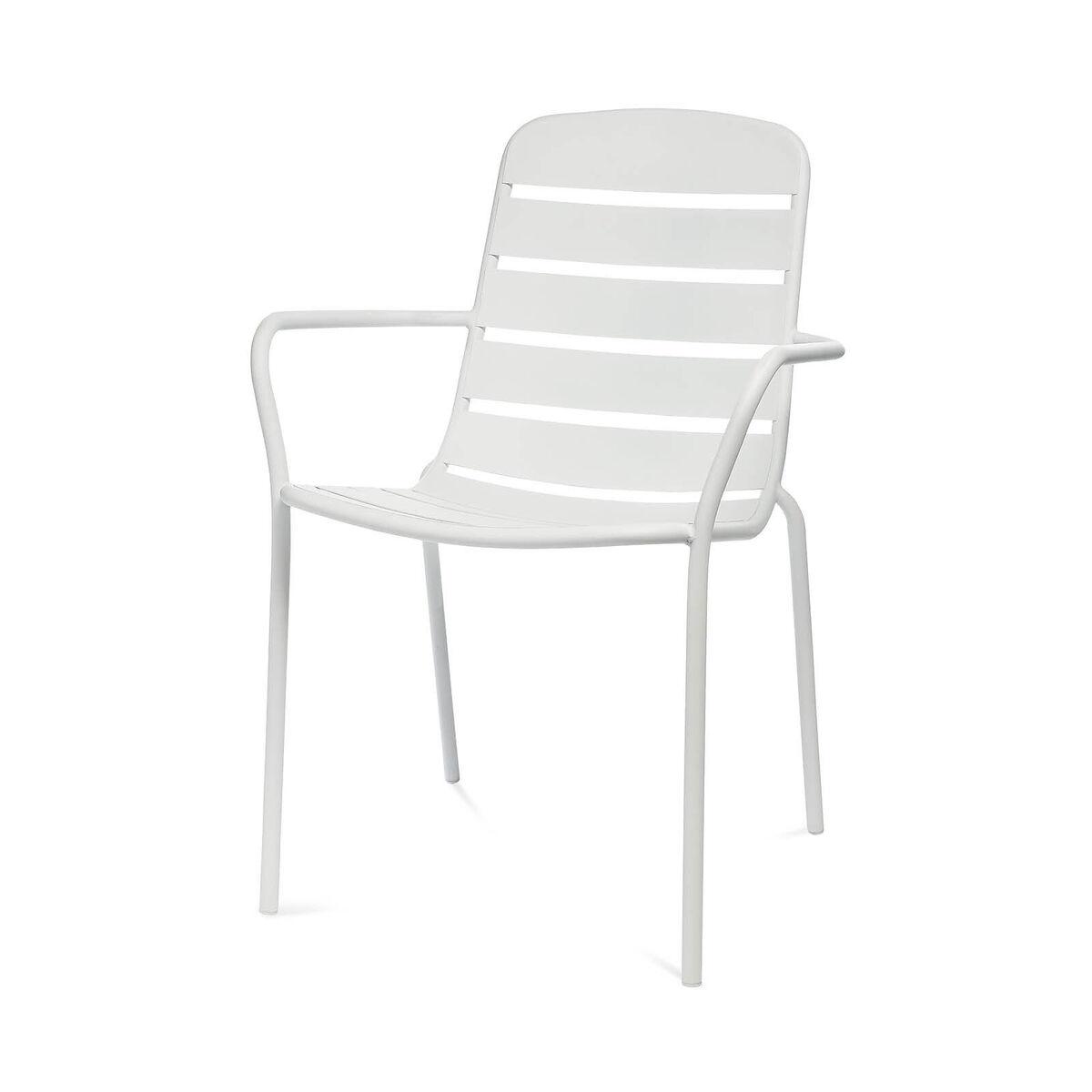 Bild 1 von Gartenstuhl mit Armlehnen, Aluminium, 56x63,5x84cm, weiß