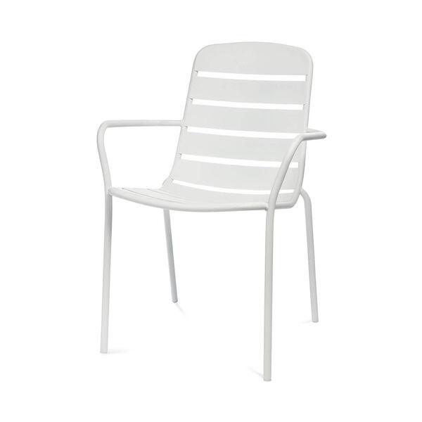 Gartenstuhl mit Armlehnen, Aluminium, 56x63,5x84cm, weiß