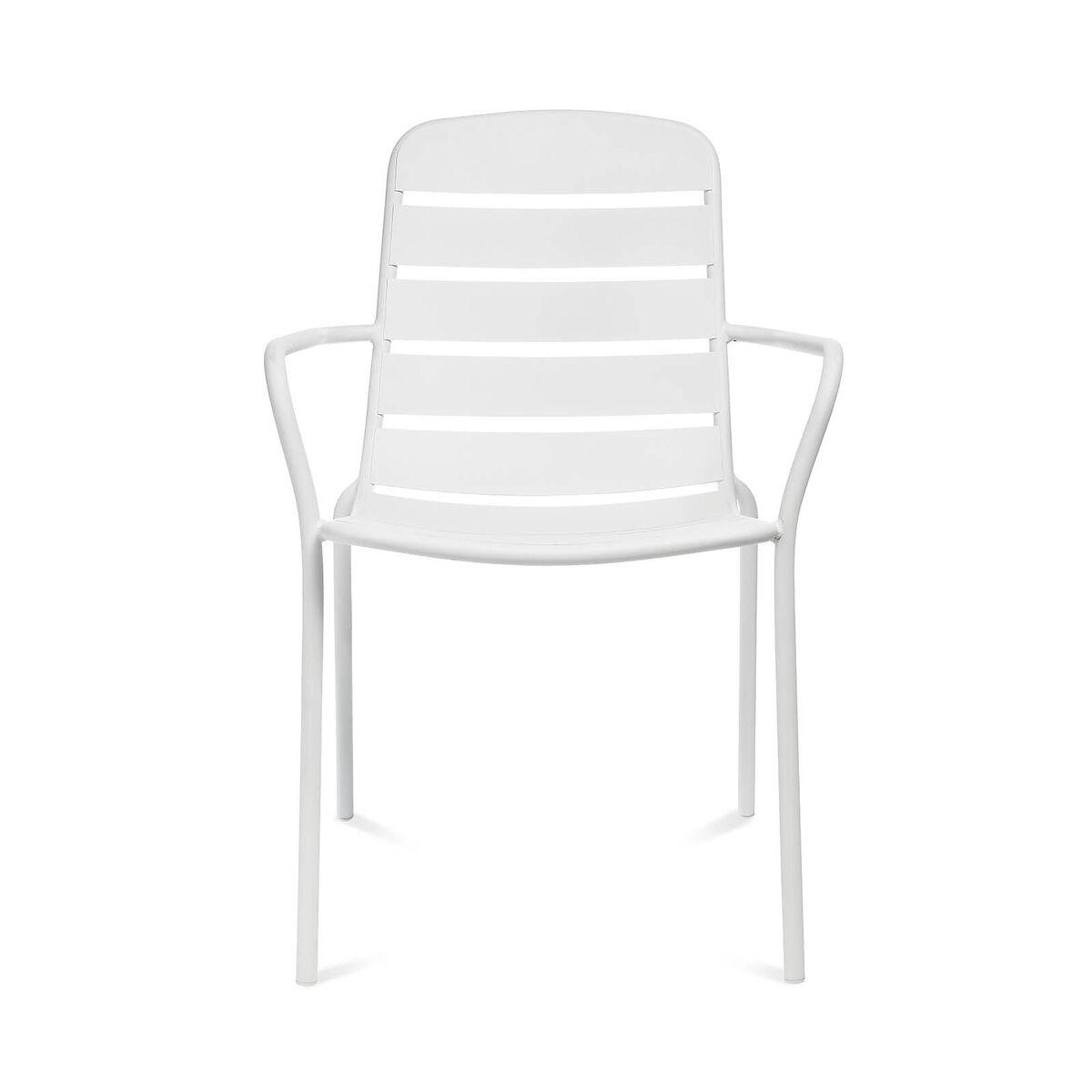 Bild 2 von Gartenstuhl mit Armlehnen, Aluminium, 56x63,5x84cm, weiß