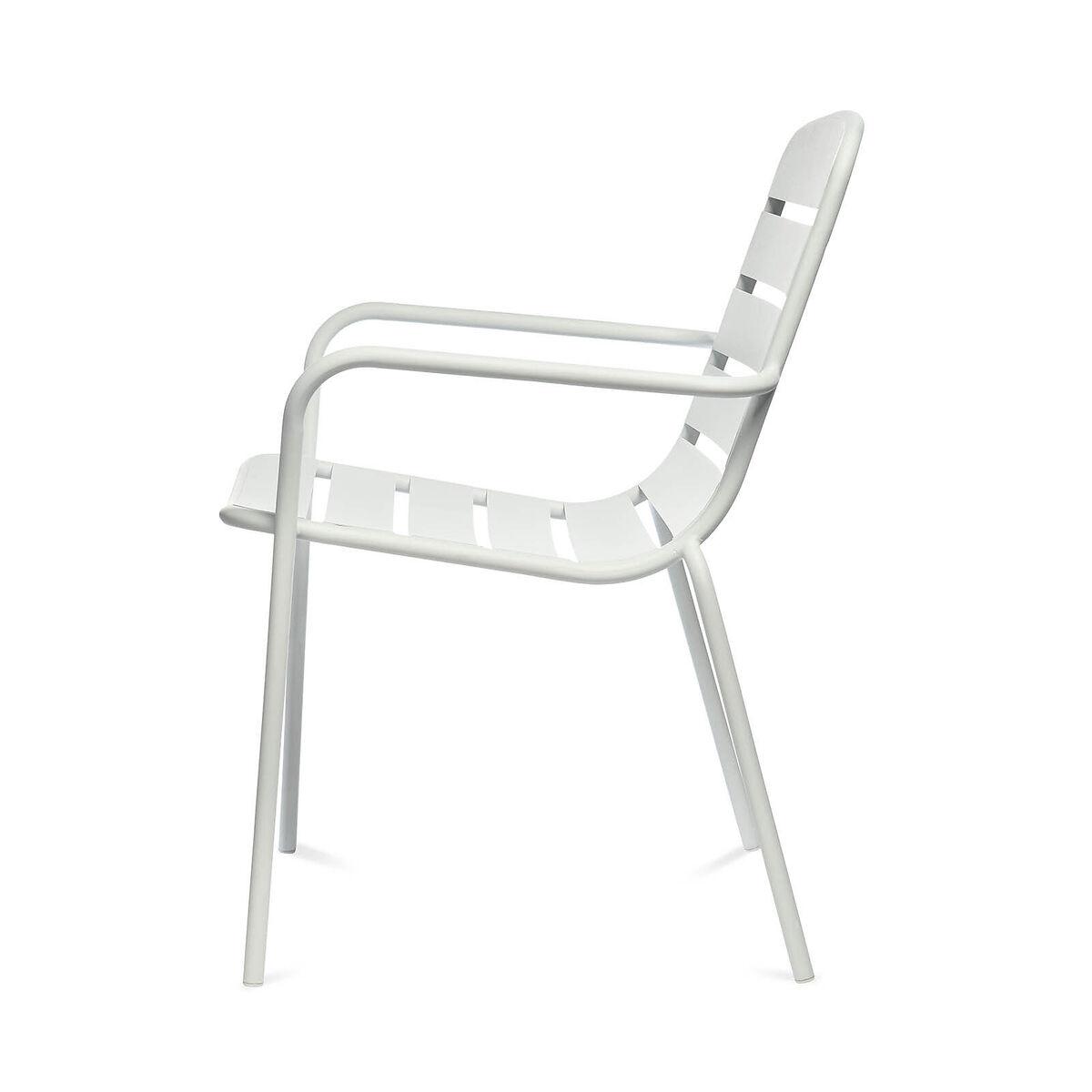 Bild 3 von Gartenstuhl mit Armlehnen, Aluminium, 56x63,5x84cm, weiß