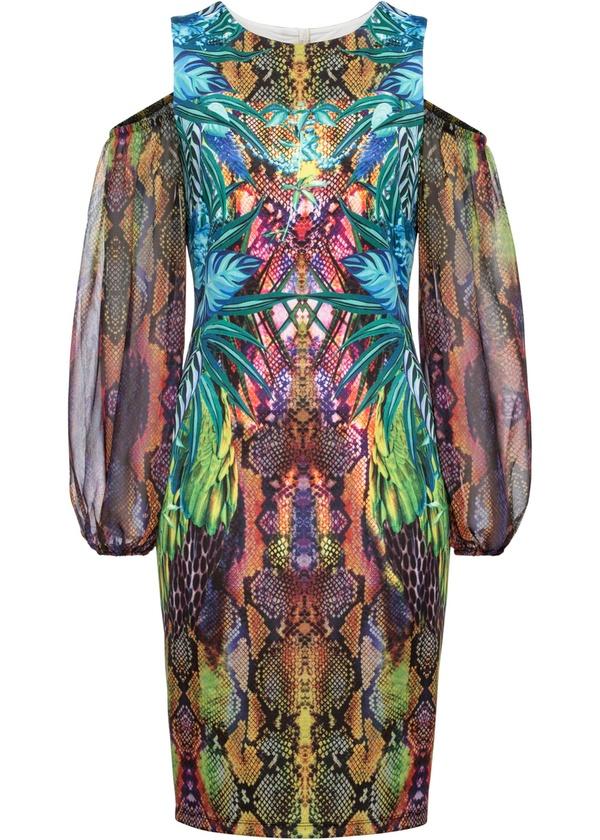 Cold-Shoulder-Kleid mit Print