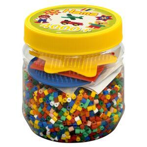 HAMA Dose 4000 Bügelperlen und 3 Platten gelb