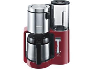 SIEMENS TC86504 Kaffeemaschine mit doppelw. Edelstahlthermokanne mit Softgriff in Cranberryrot/Schwarz