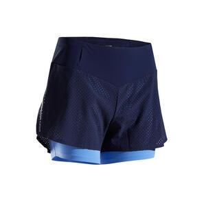 2-in-1-Laufshorts Kiprun Damen blau