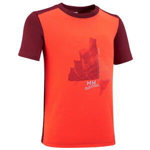 Wandershirt Bergwandern MH100 Kinder Jungen Gr. 123–172 cm orange