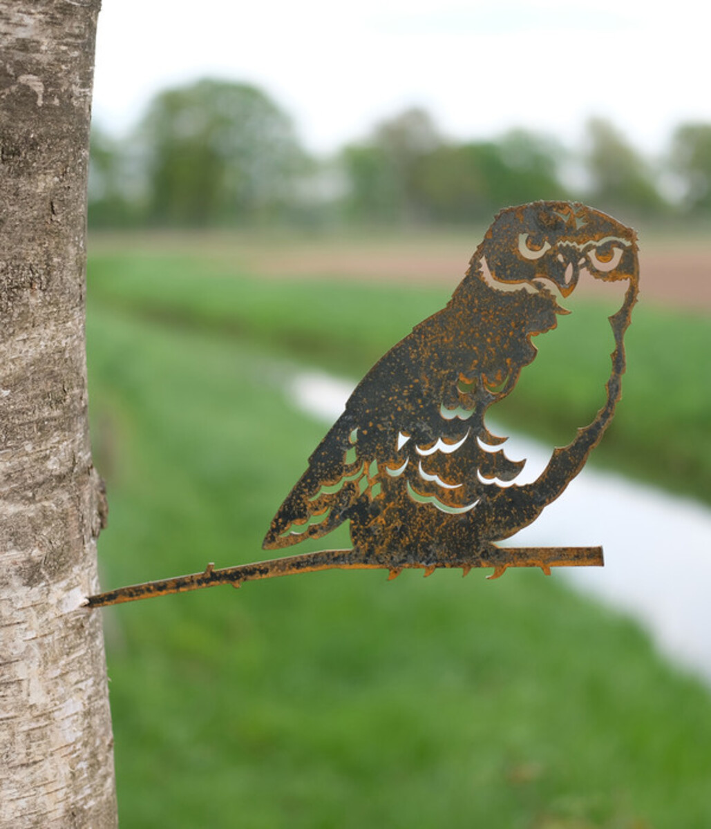 Bild 2 von Illumino Stahl-Baumstecker Glücksvogel Eule, ca. B28,3/H21 cm, rost