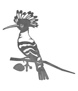 Illumino Stahl-Baumstecker Glücksvogel Wiedehopf, ca. B29,5/H27,5 cm, rost