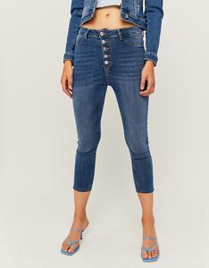 Denim Capri Jeans mit Knöpfen