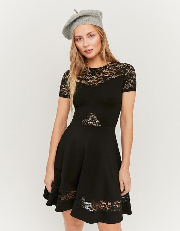 schwarzes ausgestelltes kleid mit spitze von tally weijl