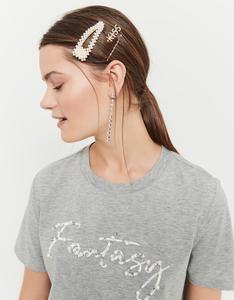 Graues T-Shirt mit Perlen