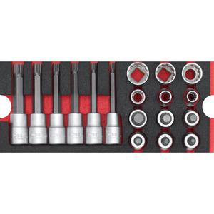 """WGB XZN Steckschlüsselsatz 1/2"""" rot 18-teilig"""