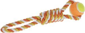 Hundespielzeug - Zugspielzeug mit Tennisball - orange/gelb