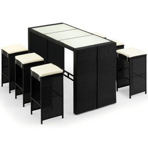 Casaria Poly Rattan 6+1 Sitzgruppe Rio Garten Bar Set