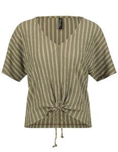 Damen Long Shoulder T-Shirt mit Schleife zum Binden