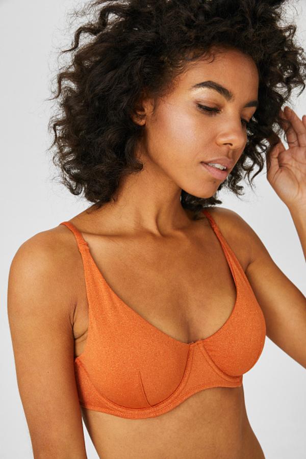 C&A Bikini-Top-wattiert-Glanz-Effekt, Orange, Größe: 75 B