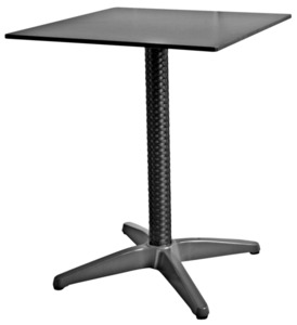 METRO Professional Tisch, quadratisch, 60 x 60 cm, HPL, Polyethylen (PE), Rattan